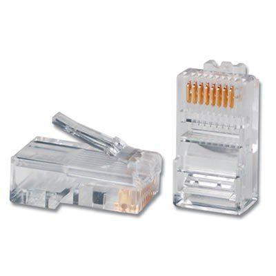 Pacote Kit C/ 100 Conectores RJ45 Cat5e Transparente