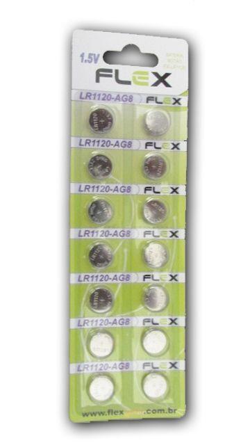 Kit c/ 10 Bateria Moeda LR1120-AG8 1.5v Cartela C/ 14 peças Flexgold