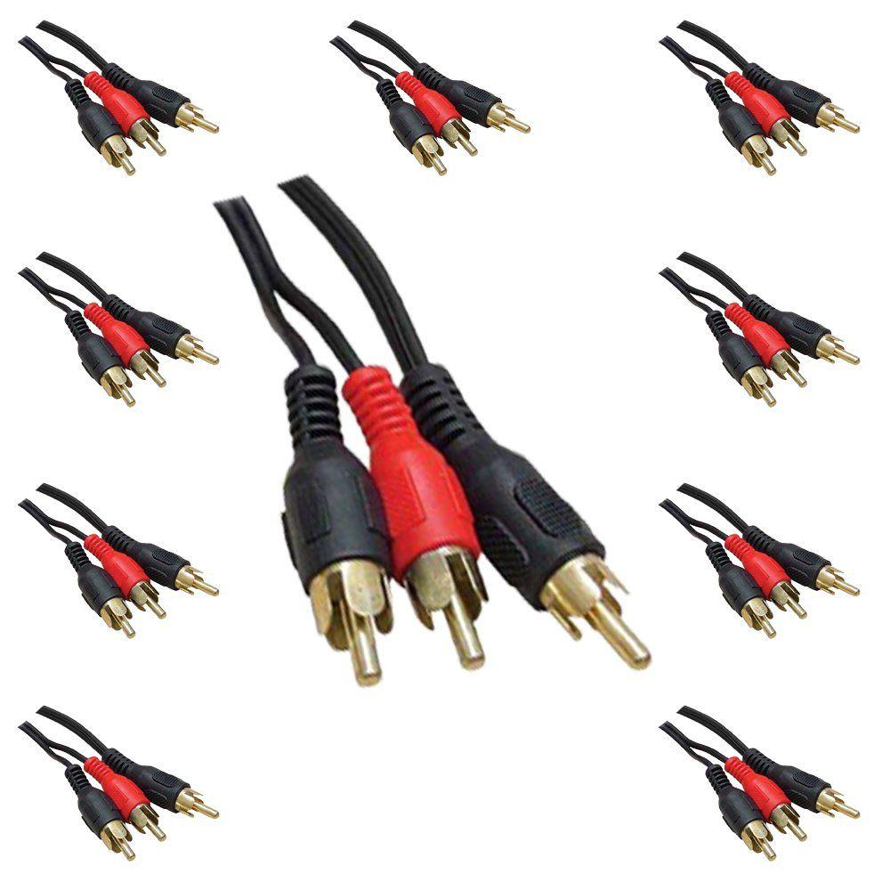 Kit C/ 10 Cabos de Áudio Y RCA 1 RCA p/ 2 RCA 1,8mts