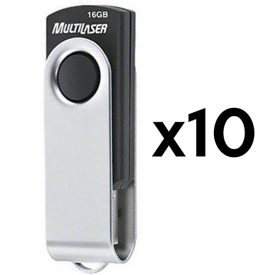 Kit C/ 10 Pen Drives Multilaser Twist 16Gb Preto e Prata USB 2.0 - PD588