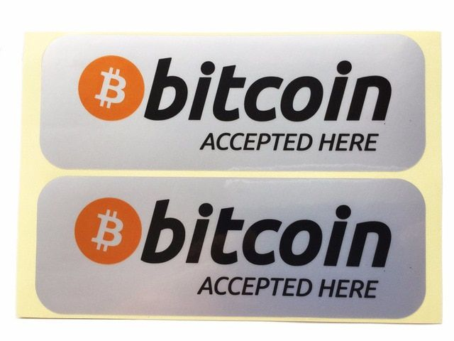 Kit c/ 2 Adesivo Bitcoin Accepted Here 14,5cm x 5,5cm