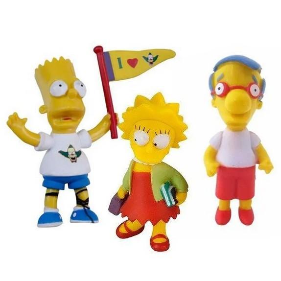 Kit C/ 3 Bonecos The Simpsons Bart Milhouse Lisa Simpson Br499 Multikids