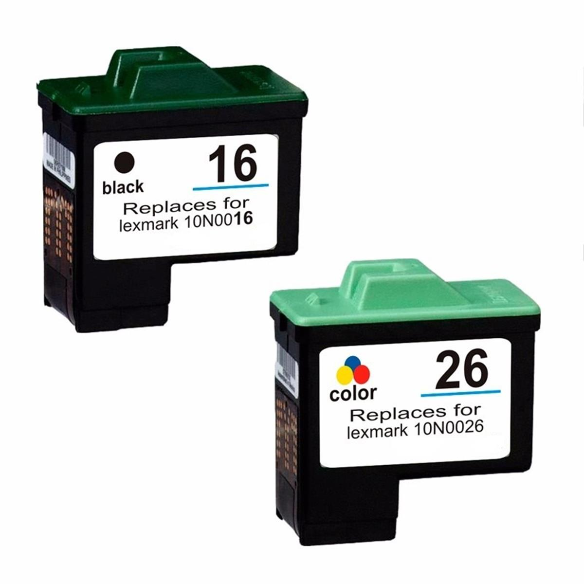 Kit Cartucho Compatível Lexmark 16 17 26 27 Preto e Colorido