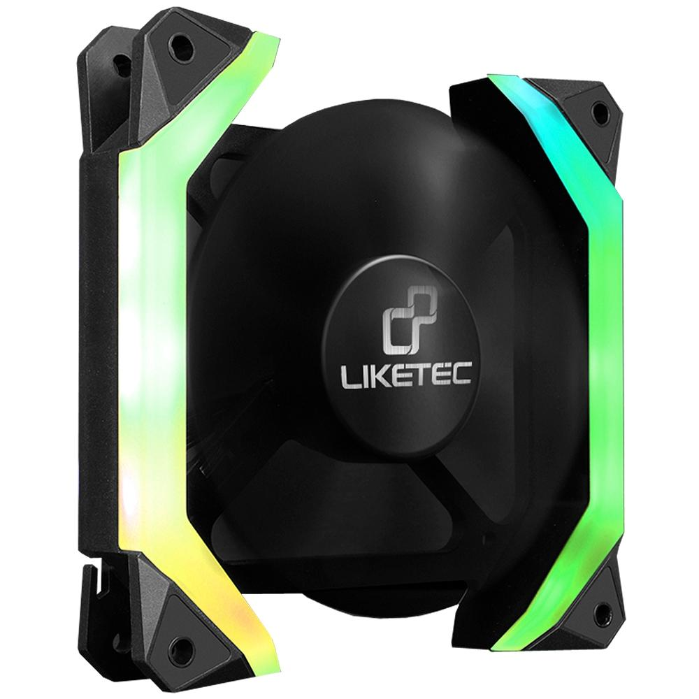 Kit com 3 Cooler FAN Liketec Fantom 120mm RGB c/ controlador e controle