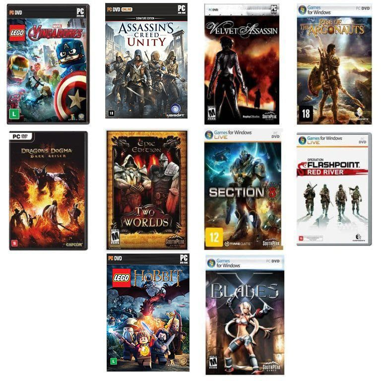 Kit combo c/ 10 jogos p/ PC Originais lacrados Mídia Física