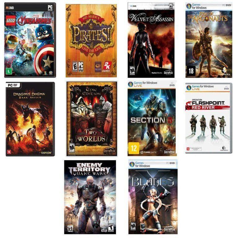 Kit combo c/ 15 jogos p/ PC Originais lacrados Mídia Física