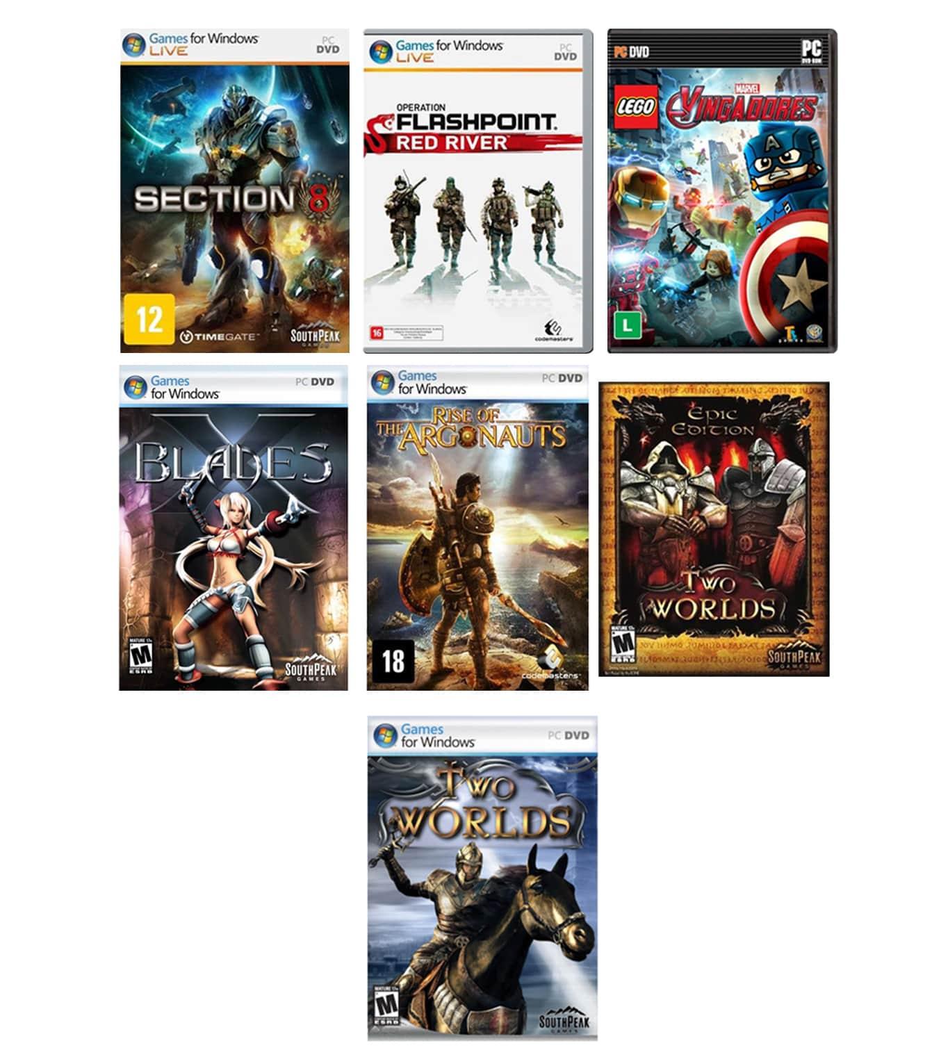 Kit combo c/ 7 jogos p/ PC Originais lacrados Mídia Física