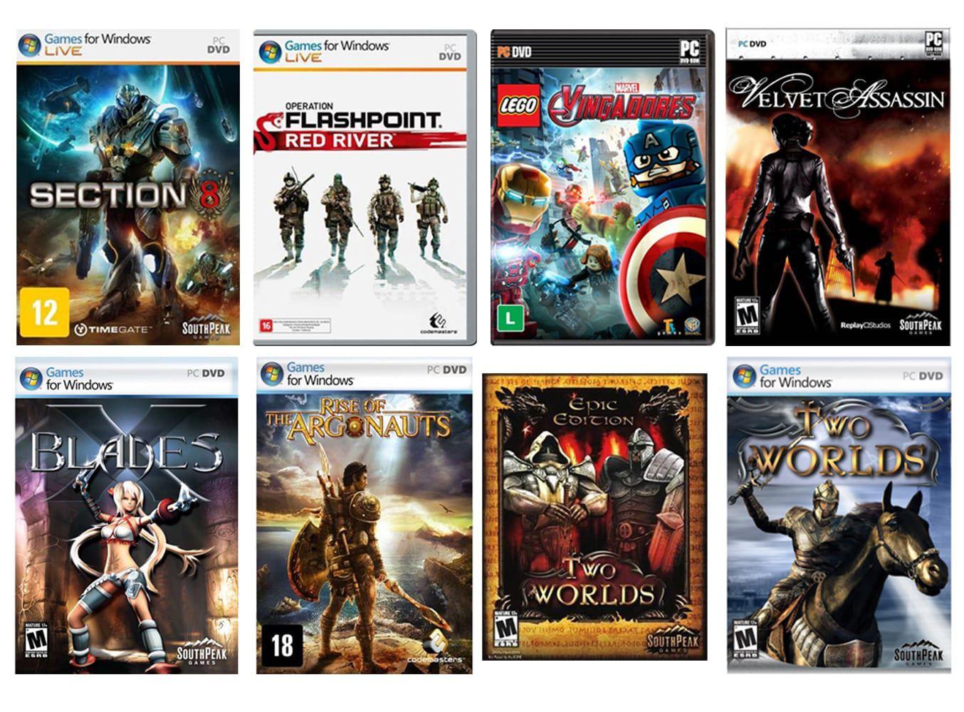Kit combo c/ 8 jogos p/ PC Originais lacrados Mídia Física
