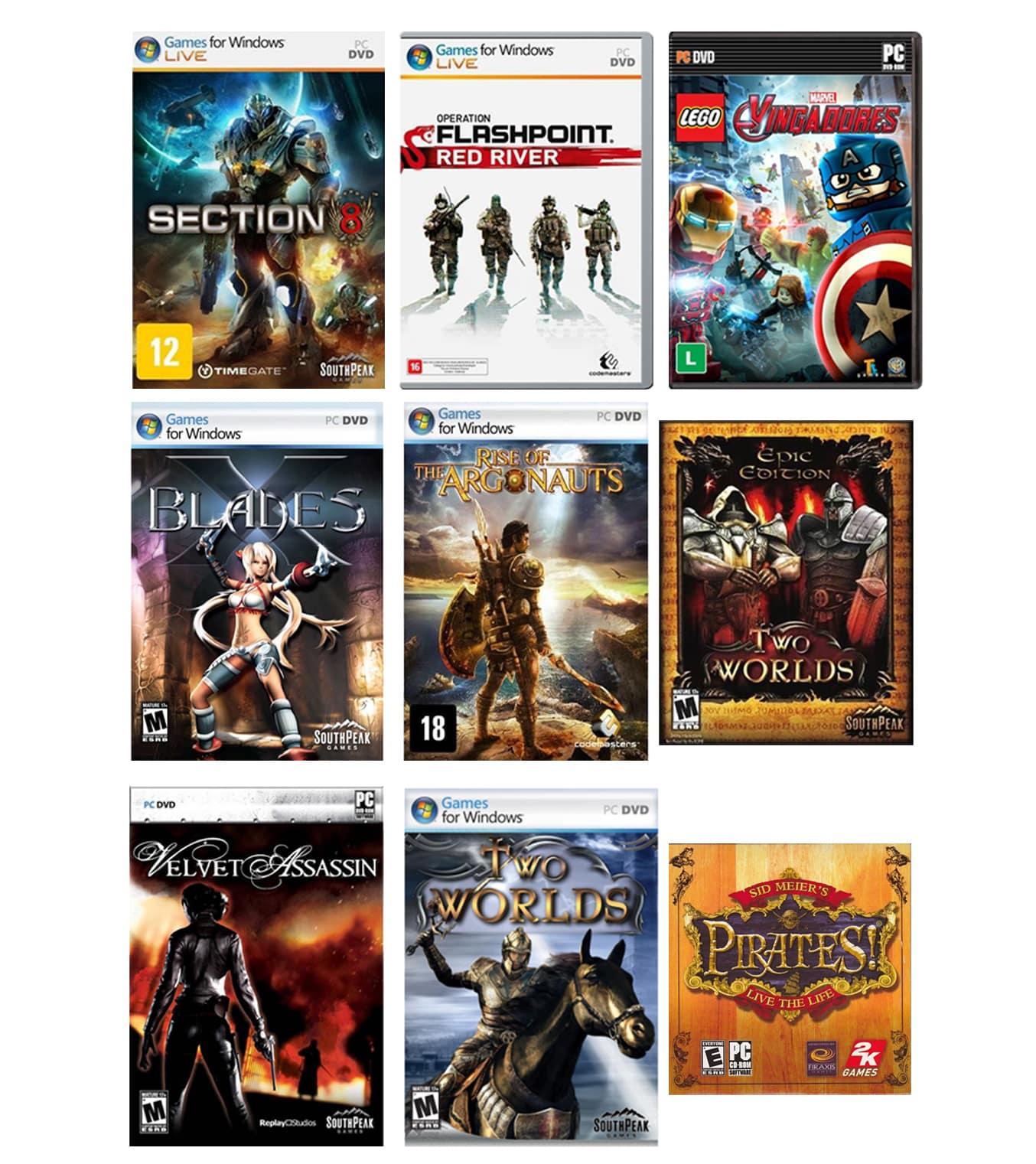 Kit combo c/ 9 jogos p/ PC Originais lacrados Mídia Física