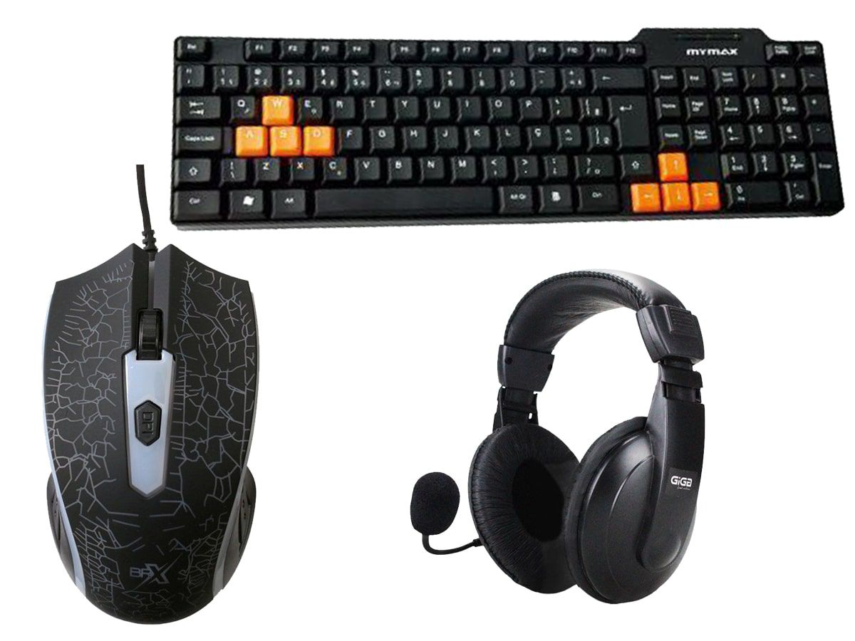 Kit Gamer Standart Teclado + Mouse 1200DPI + Headset