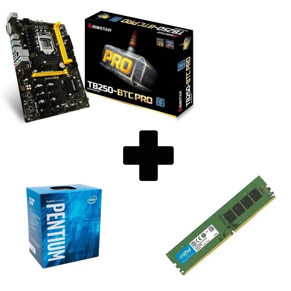 Kit Mineração Placa Mãe Biostar TB250-BTCPRO + Pentium G4560 + 8GB