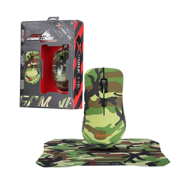 Kit Mouse Gamer 3200dpi + Mousepad Camuflado Xtrike 287x244x3MM - GMP-505