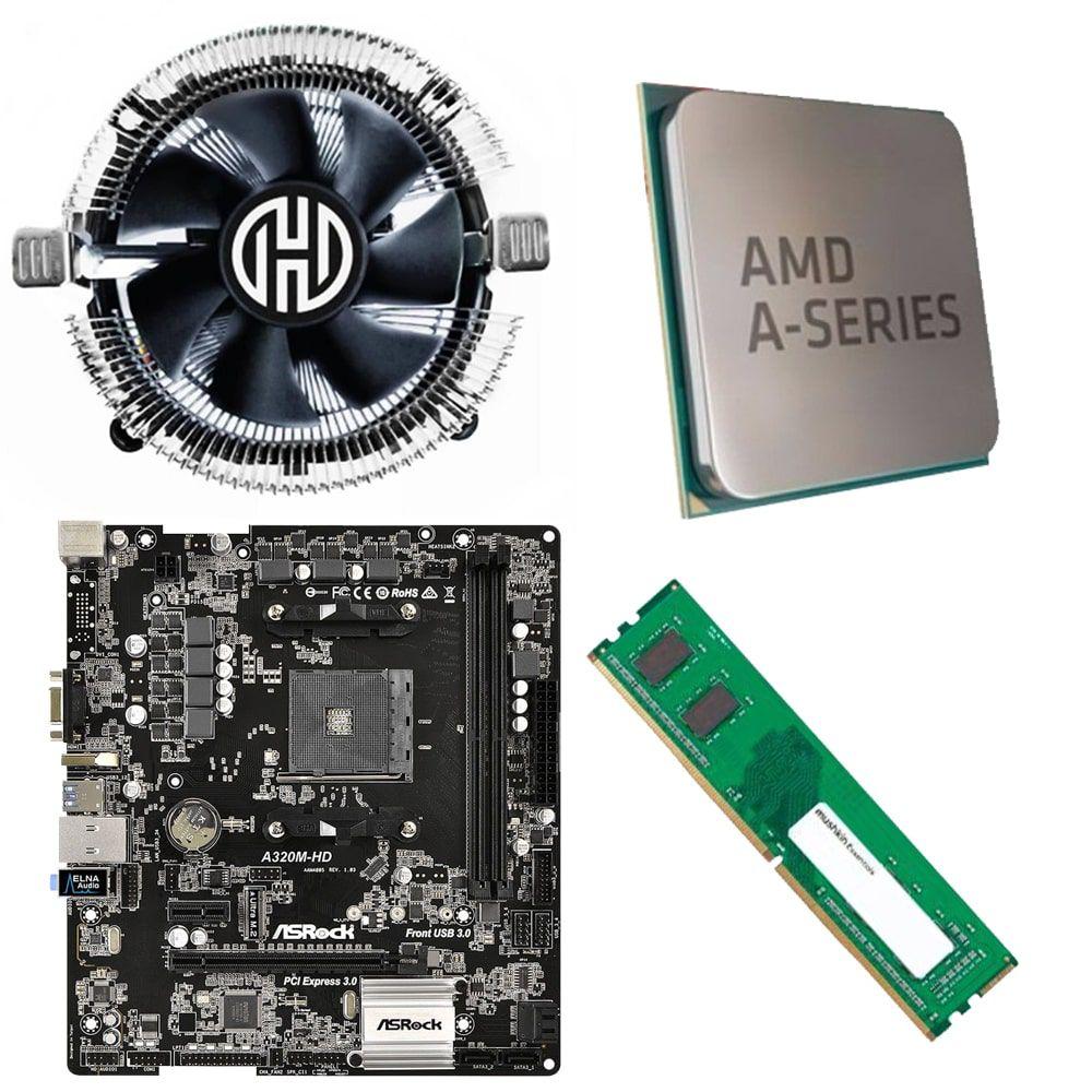 Kit Placa Mãe ASRock A320M-HD + Processador AMD A6 9500 3.5GHz + 4GB Ram DDR4