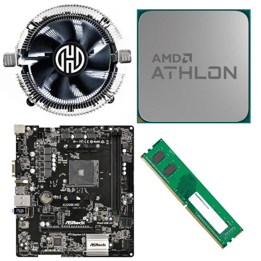 Kit Placa Mãe ASRock A320M-HD + Processador Athlon 200GE 3.2GHz + 4GB Ram DDR4