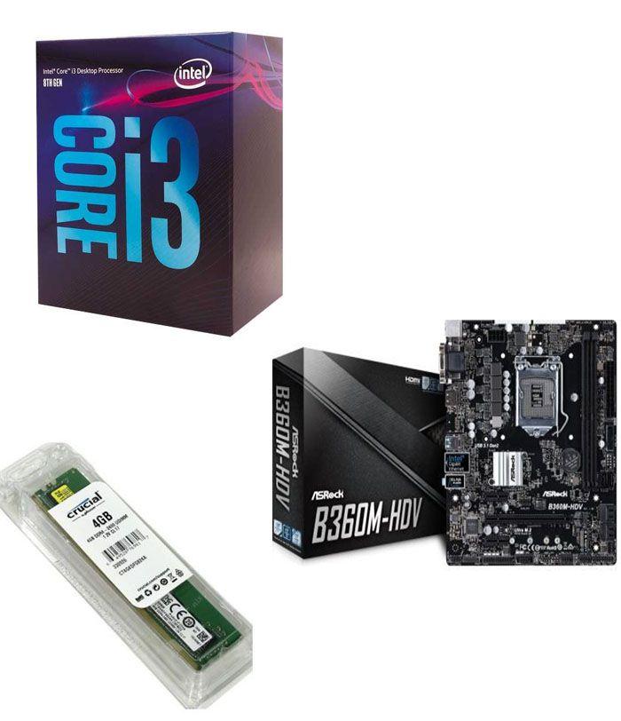 Kit Placa Mãe ASRock B360M-HDV + Processador Intel Core i3-8100 + 4GB DDR4 2400MHZ Crucial