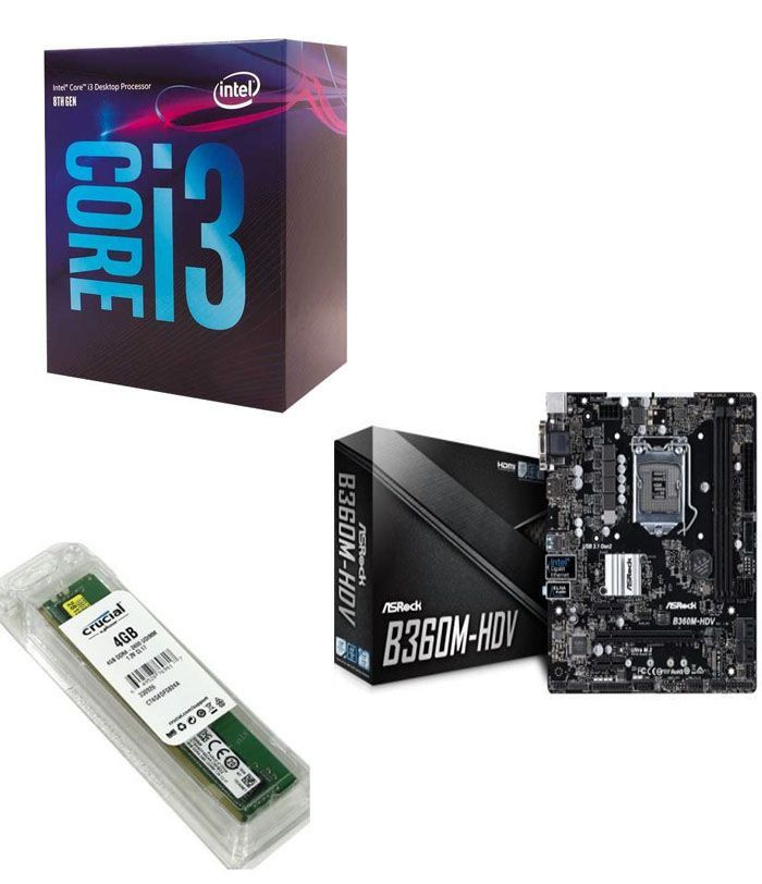Kit Placa Mãe ASRock B360M-HDV + Processador Intel Core i3-8100 + 8GB DDR4 2400MHZ Crucial