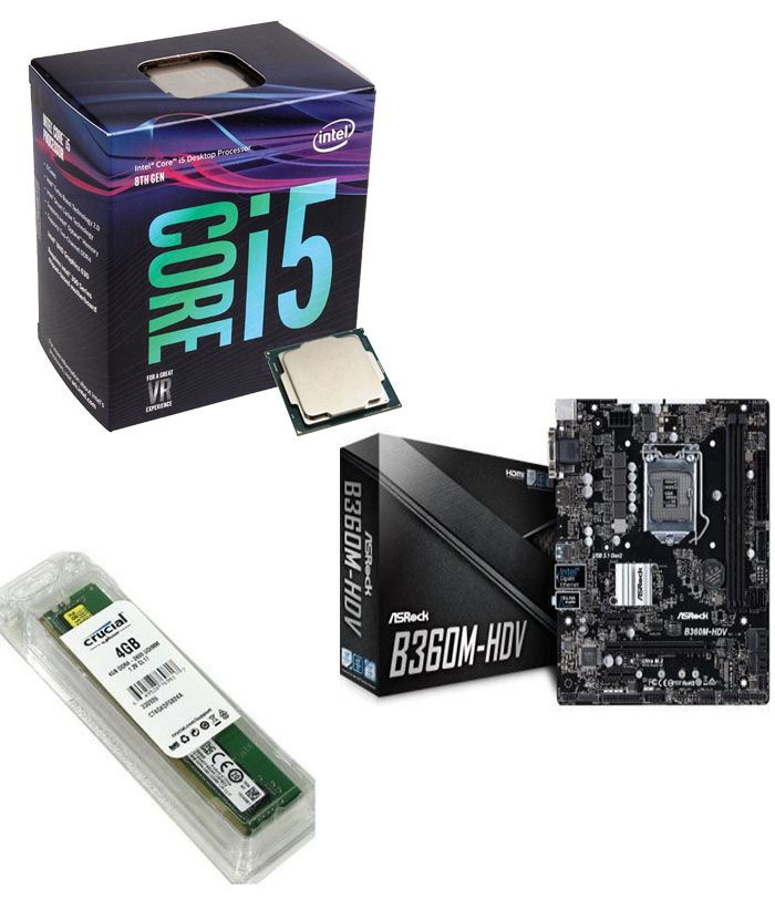 Kit Placa Mãe ASRock B360M-HDV + Processador Intel Core i5-8400 + 4GB DDR4 2400MHZ Crucial