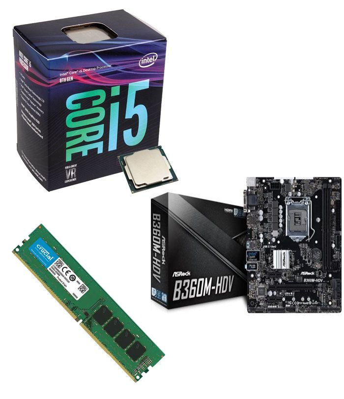 Kit Placa Mãe ASRock B360M-HDV + Processador Intel Core i5-8400 + 8GB DDR4 2400MHZ Crucial