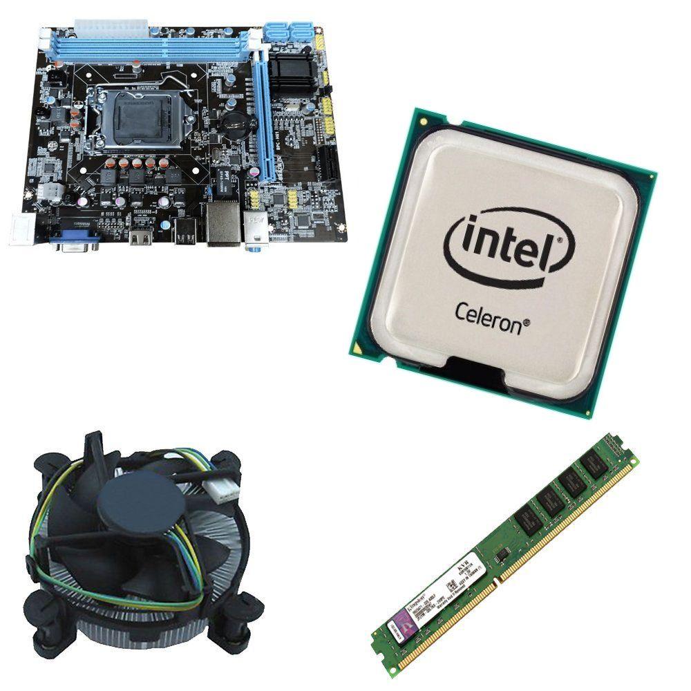 Kit Placa Mãe BRPC 1155 + Processador Intel Celeron G1620 2.7GHz + 4GB Ram Kingston