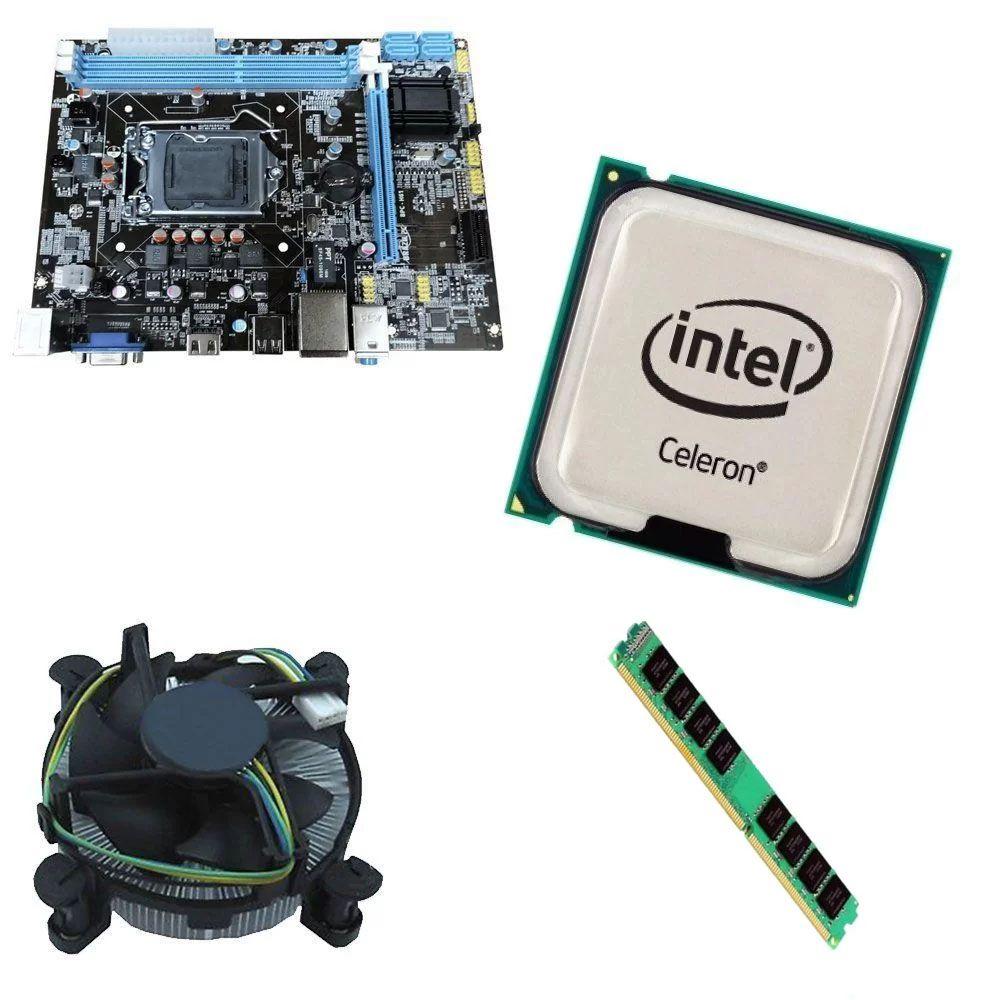 Kit Placa Mãe BRPC 1155 + Processador Intel Celeron G1620 2.7GHz + 8GB Ram DDR3