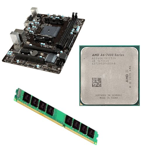 Kit Placa Mãe FM2 MSI A68HM-E33 + Processador A6 7400K 3.5GHZ + 4GB Ram DDR3 1600MHZ