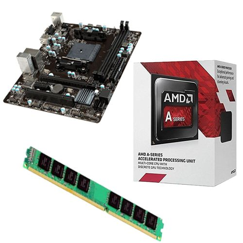 Kit Placa Mãe FM2 MSI A68HM-E33 + Processador A6 7480 3.5GHZ + 4GB Ram DDR3 1600MHZ