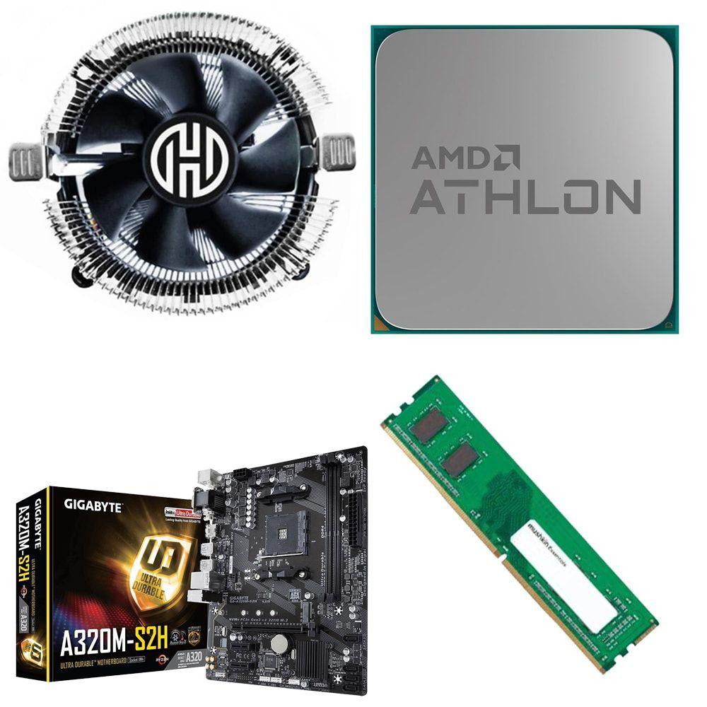 Kit Placa Mãe Gigabyte A320M-HD + Processador Athlon 200GE 3.2GHz + 4GB Ram DDR4