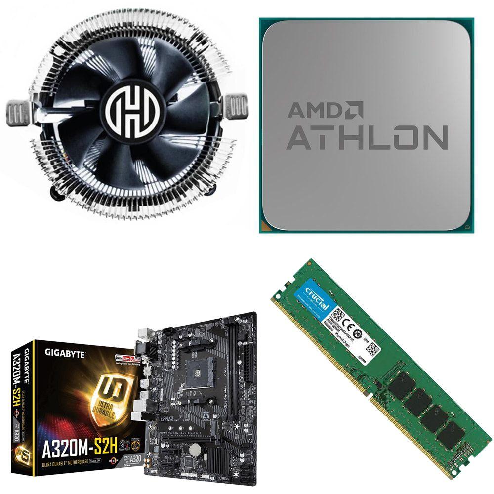 Kit Placa Mãe Gigabyte A320M-HD + Processador Athlon 200GE 3.2GHz + 8GB Ram DDR4