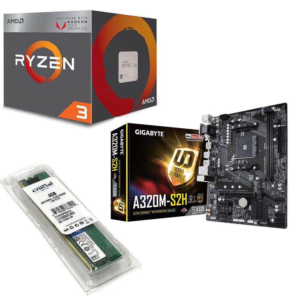 Kit Placa Mãe Gigabyte A320M + Processador AMD Ryzen 3 2200G 3.5GHZ Quad Core + 4GB DDR4 2400MHZ
