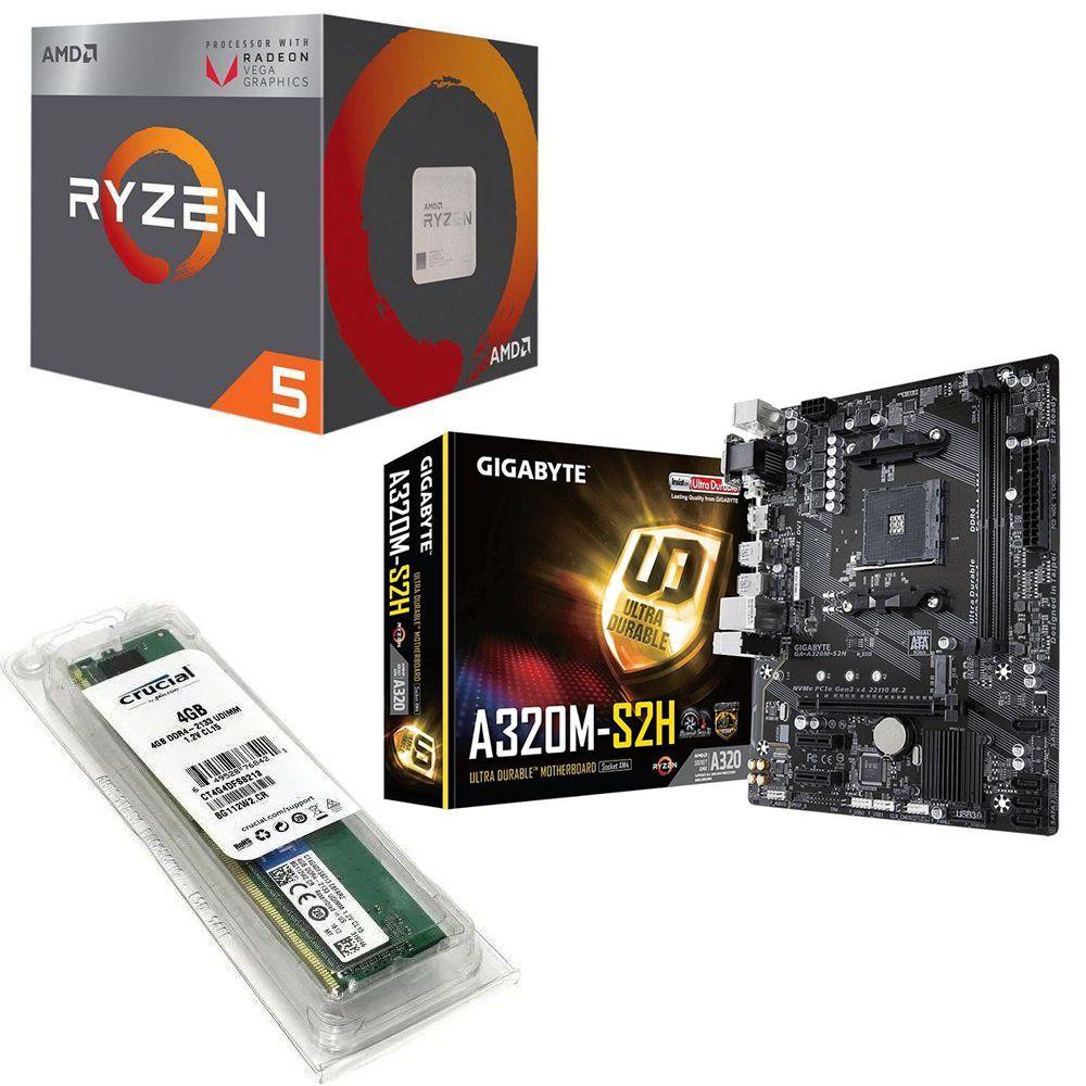 Kit Placa Mãe Gigabyte A320M + Processador AMD Ryzen 5 2400G 3.5GHZ Quad Core + 4GB DDR4 2400MHZ