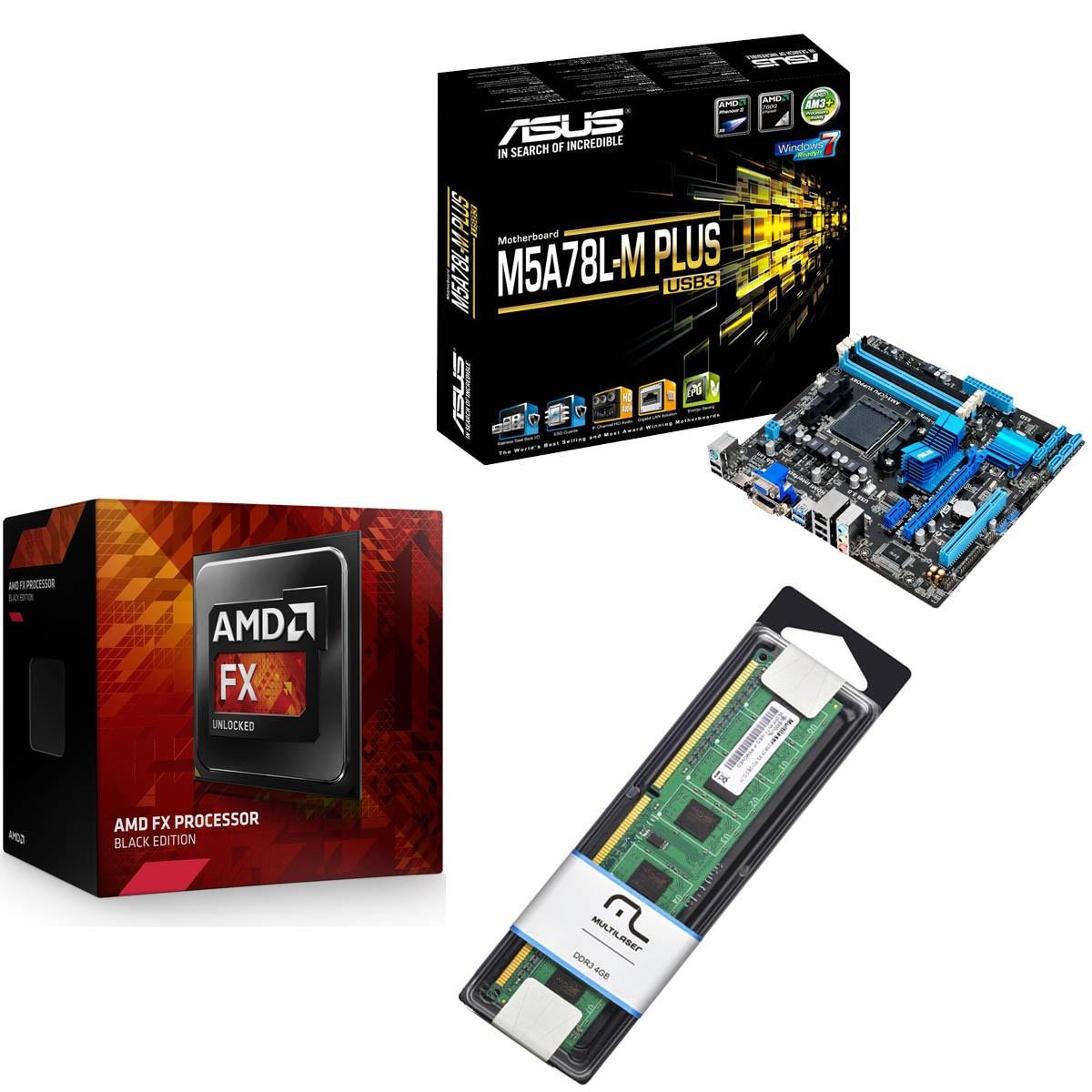 Kit Placa Mae Asus M5a78l M Plus Usb3 Processador Amd Fx 4300 Quad Core