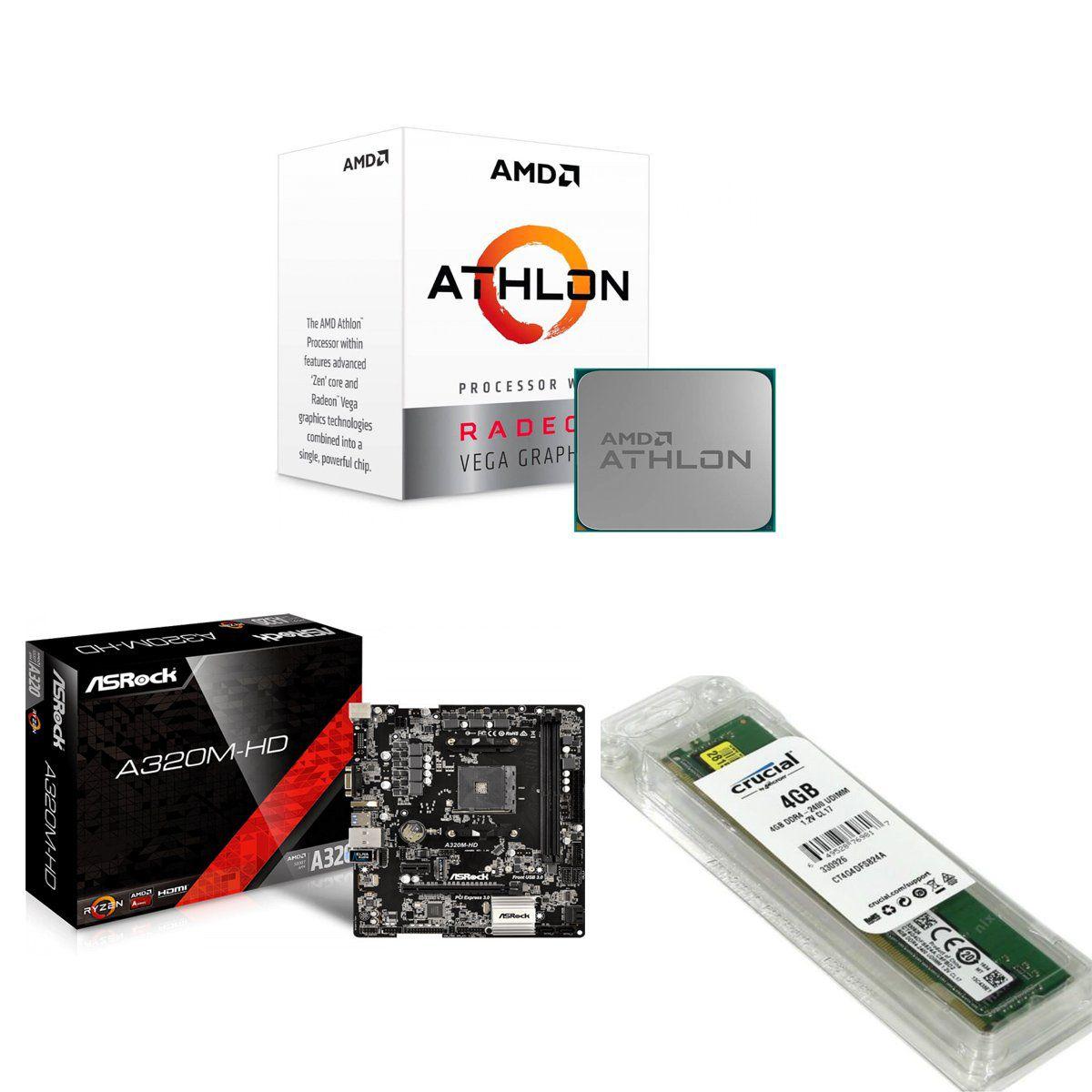 Kit Processador AMD Athlon 200G 3.2GHz, AM4 + Placa Mãe Asrock AM4 + 4GB DDR4 2400MHZ Crucial