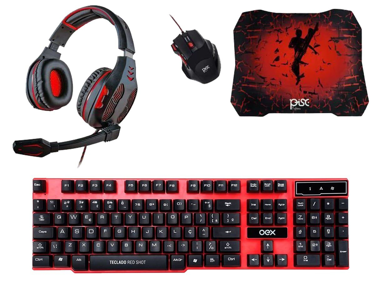 Kit RedShot C/ Teclado, Mouse 1600dpi Mousepad e Headset