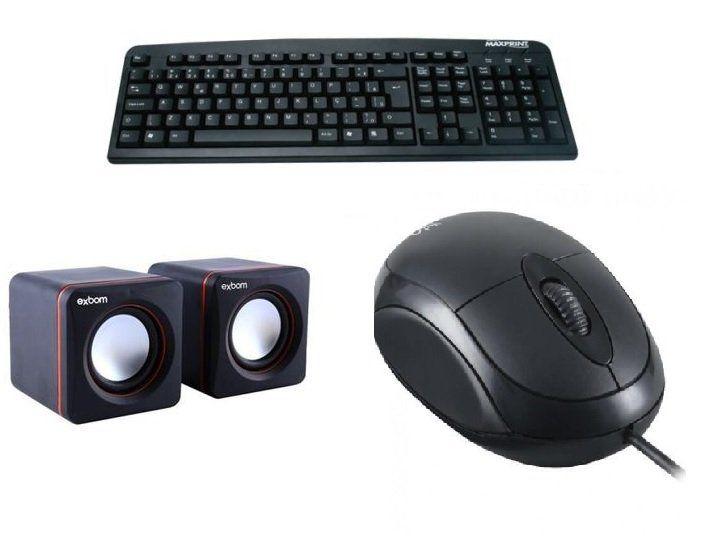 KIT Standart Mouse Optico, Teclado Padrão e Caixa de som  2.0