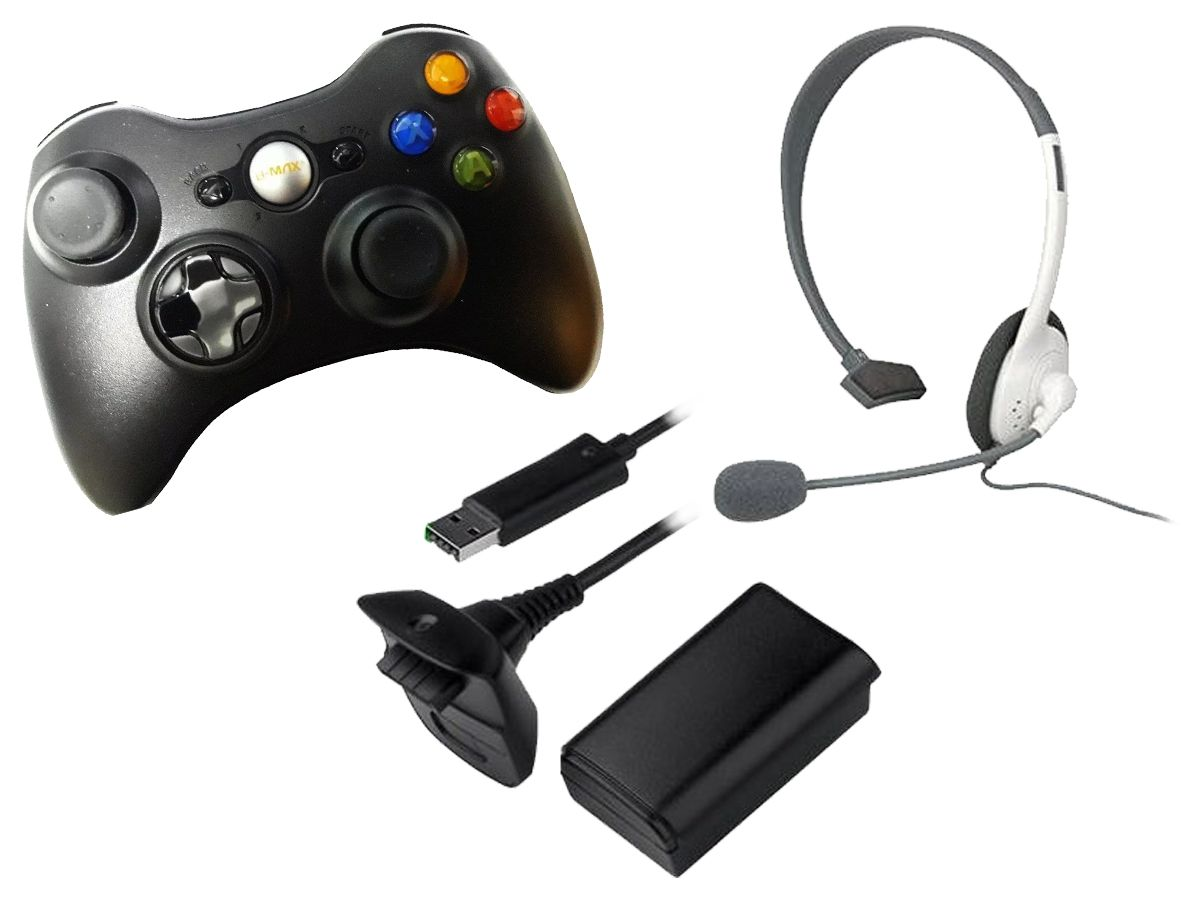 Kit Xbox Joystick S/ Fio + HeadSet + Bateria Recarregavel + Carregador