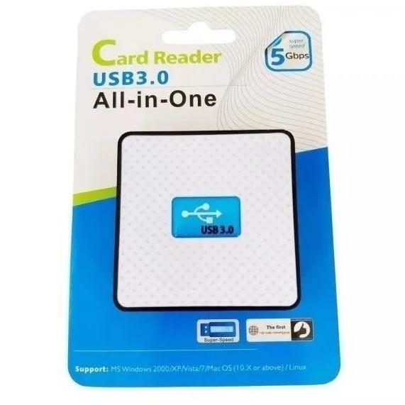 Leitor de Cartão de Memória F3, USB 3.0, All-in-One Branco - JC-LT3.0