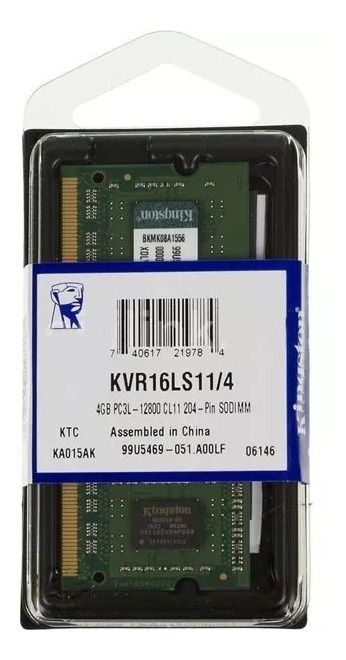 Memória Kingston 4GB, 1600MHz, DDR3, Notebook, CL11 KVR16S11/4