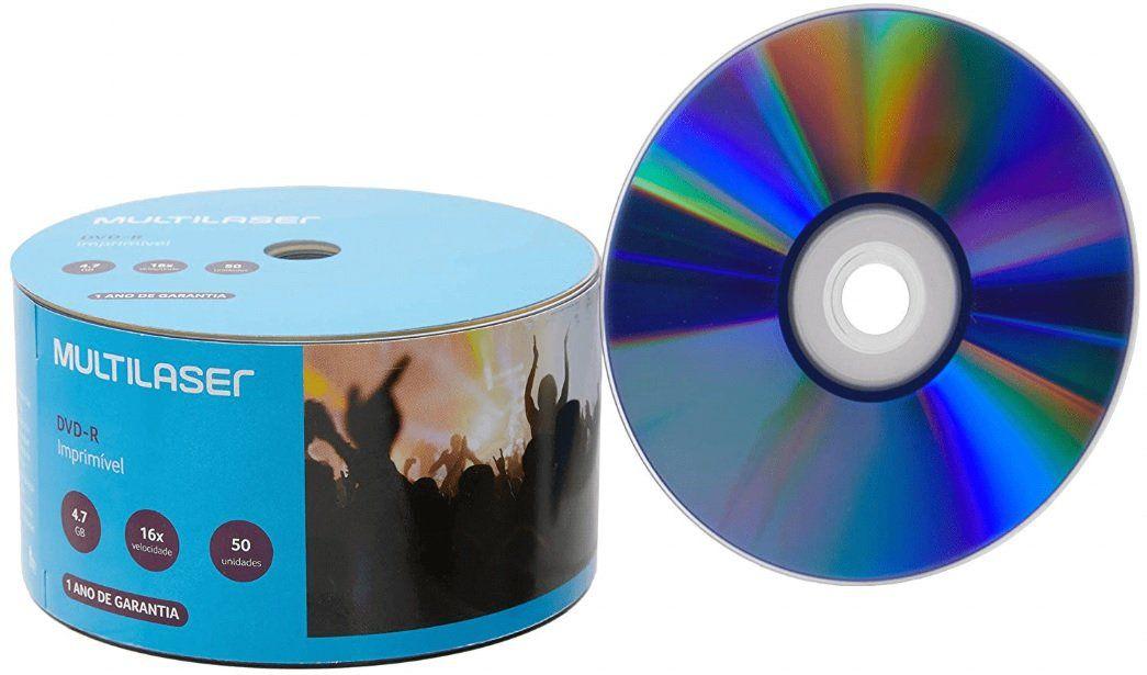 Mídia DVD-R Printable 16X 4.7 Gb 50 unidades Multilaser DV052
