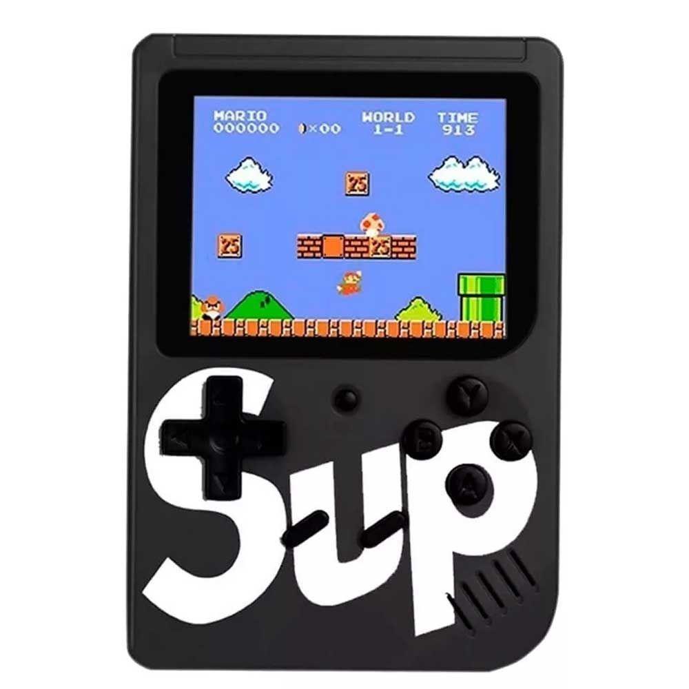Mini Game Box Console Portátil C/ 400 Jogos Retrô Preto