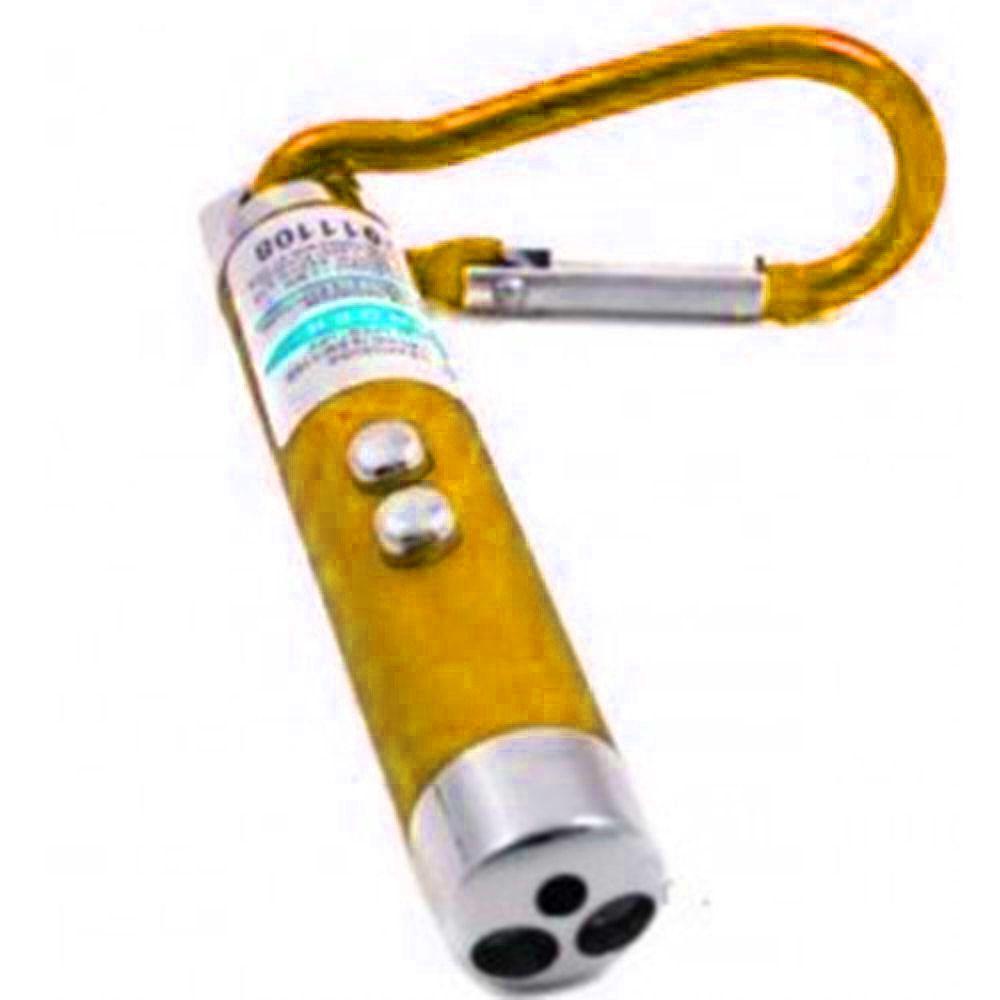 Mini Lanterna Chaveiro 3 Funções Amarelo Identificador de Nota falsa