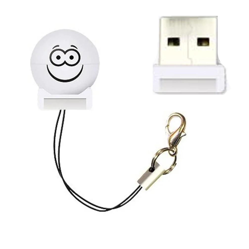 Mini leitor Adaptador de cartão Micro SD Para USB Bolinha Branco - 9203