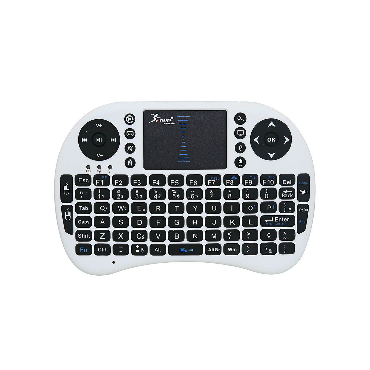 Mini Teclado S/ Fio Usb Smart Tv Box Ps3 Xbox KP-2031A Branco