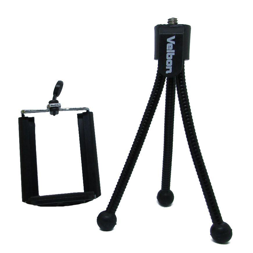 Mini Tripé Flexível Velbon Suporte Celular Go Pro Cameras Preto - TeenyPod