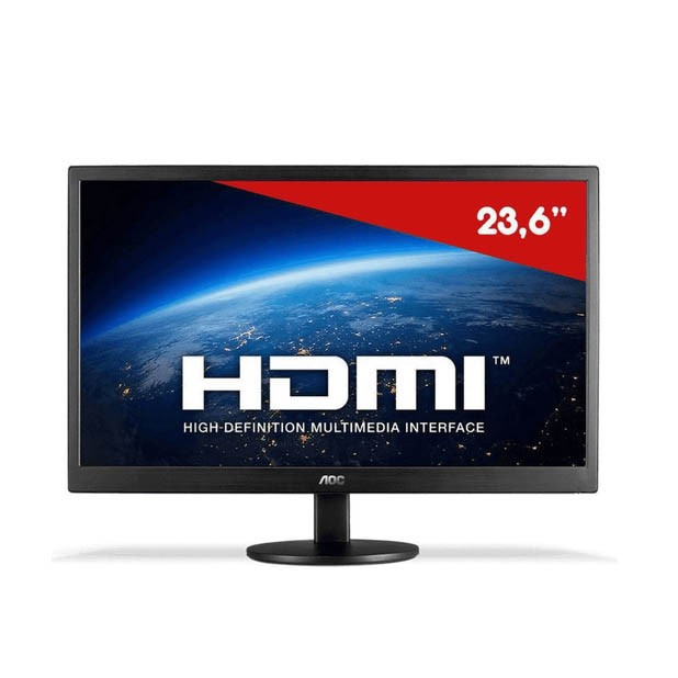 Monitor Led 23.6'' Full HD Wide VGA HDMI Aoc Preto - M2470swh2