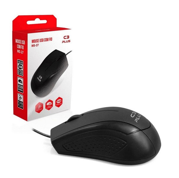 Mouse C/ Fio USB Preto C3Plus - MS-27BK