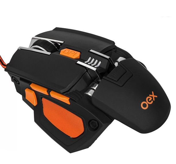 Mouse Gamer 7 Botões Ajuste De Peso 5200dpi Oex Preto e laranja -  Cyber Ms306
