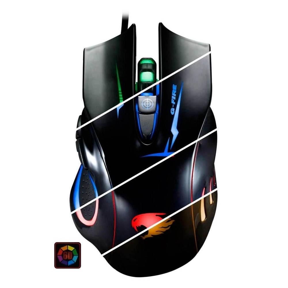 Mouse Gamer G-FIRE Ergonômico 6 Botões Led RGB 2400 DPI - MOGT2