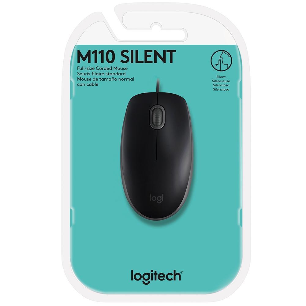 Mouse Logitech M110 com Clique Silencioso Preto