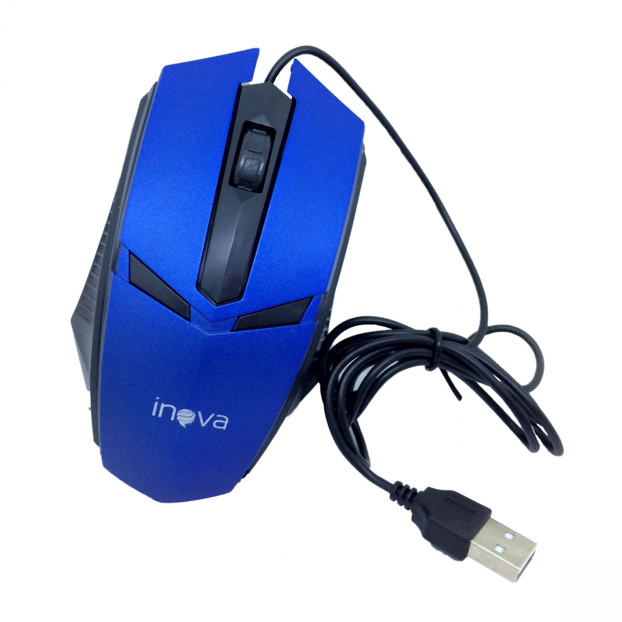 Mouse Óptico Com Fio USB 800Dpi Inova MOU-6935 Azul Preto - INOVA BLISTER