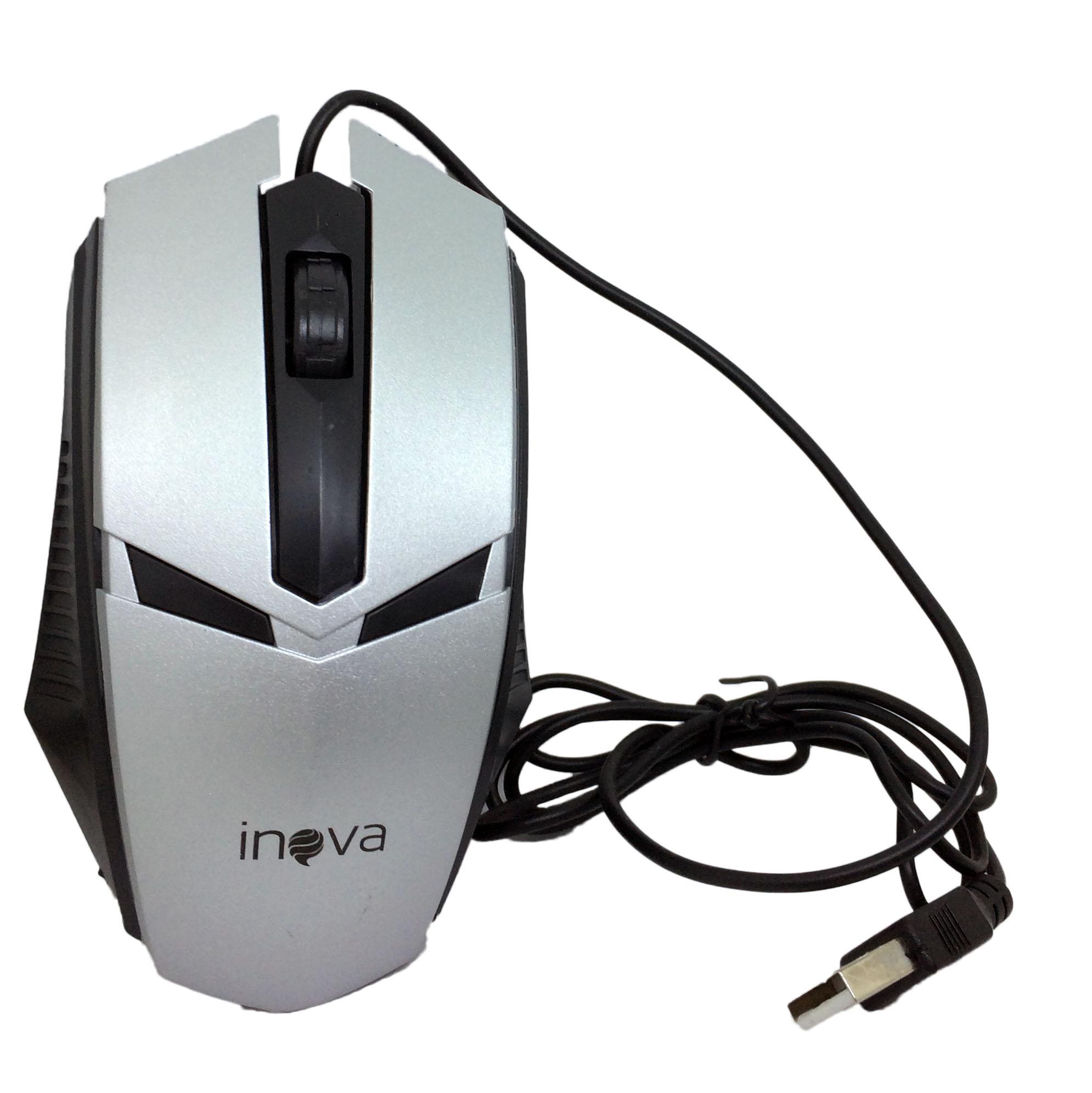 Mouse Óptico Com Fio USB 800Dpi Inova MOU-6935 Cinza Preto - INOVA BLISTER